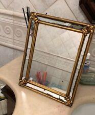 Antico specchio da barba bagno in legno vintage