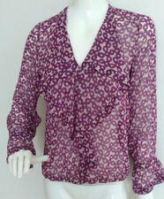 ZARA print Silk blouse size S --MINT-- long sleeve 100% Silk