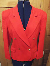 AUSTIN REED RED VIRGIN WOOL DOUBLE BREASTED JACKET - SIZE 8