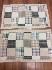 PATCHWORK SHAMS SET OF 2 KING TAN NAVY RED GREEN QUILTED MADRAS STRIPED