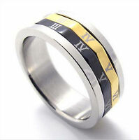 Mens Ring Wedding Band Stainless Steel Engagement Anniversary Roman Numerals New