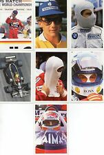 Question of Sport 7 Formula 1 cards incl Senna (2 diff), Mansell, Prost
