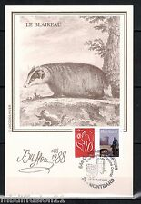 1988/TIMBRE/FRANCE**FDC CP 1°JOUR!!**ANIMAUX-LE BLAIREAU-BUFFON**STAMP.MONTBARD