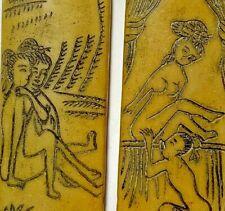 Lot Of 2 pcs Roman hand painted erotic art on Stone Double Sided Amulets Pendan