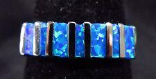 Silver 925 Filled Size 6.5 Ring Baguette Cut Pacific Ocean Blue Lab Fire Opal