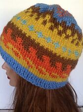 Beanie Hat Slouch Beret Hand Knit Women Multicolor  Designer Hip  Fashion