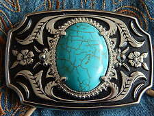 NEW HANDCRAFTED   BELT BUCKLE SILVER/BLACK METAL TURQUOISE COLOUR,WESTERN, GOTH