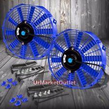 "2x Universal 12"" SLIM Blue Reversible Electric Electric Radiator Cooling Fan"