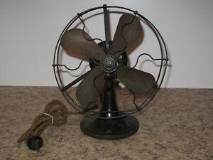 "General Electric Whiz 9"" Fan GE Vintage Antique Brass Blade Works Unrestored USA"