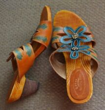 Spring Step Sandals Slides Mules Carlina Beige Brown Turquoise Leather Sz 40