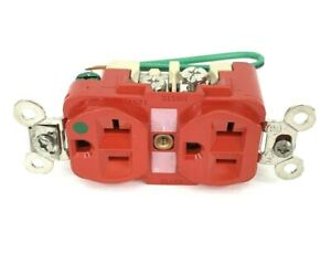 Hubbell HBL8300R 20 AMP 125V Hospital Grade Duplex Outlet Red W/ Ground Wire NB