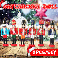 6PCS Wooden Nutcracker Soldier Handcraft Walnut Puppet Toy Christmas Decor