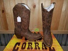 Women's Sz 8M Corral Cowboy Boots Brown C2033 Distressed Naham