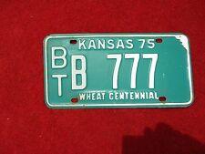 Vintage Original 1975 Kansas License VEHICLE Tag BT B 777 Man Cave Reissue