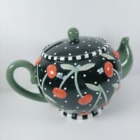 Vtg Mary Engelbreit Teapot Coin Bank Black w/Cherries - Original Stopper As-Is