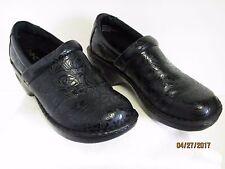 EUC BOC BORN CONCEPT Black Tooled Paisley Floral Slip On Clogs Shoes