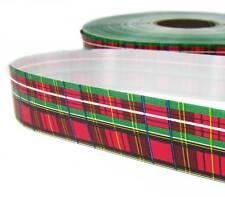 "4 Yds Christmas Red Green Plaid Acetate Ribbon 1 1/4""W"