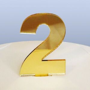 Number 2 Cake Topper Gold Acrylic Mirror (approx 6cm letter height)