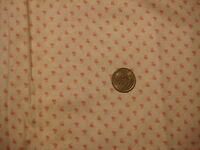 """Vintage Joan Kessler Cotton Fabric TINY PINK BUG BUTTERFLY SHAPE WHITE 1 Yd/44"""""""