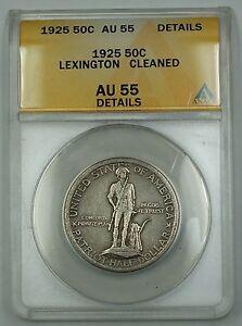 1925 Lexington Commemorative Silver Half Dollar Coin ANACS AU-55 Details Cleaned