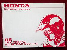 1988 TRX 300 FW Fourtrax 300 4x4 NEW Honda Owners Manual