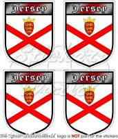 "JERSEY British Channel Islands Shield 50mm(2"") Vinyl Bumper Stickers-Decals x4"