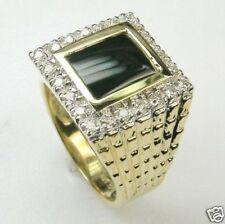 GENT'S/MEN'S DIAMOND & ONYX RING IN 14K YELLOW GOLD RETAIL $2999