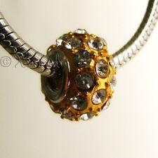 1PC Gold Crystal Studded Bead - Large Hole Bead For European Charm Bracelets