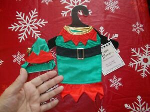 Christmas Holiday Green Satiny Elf Suit XX Small Pet Outfit