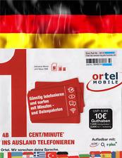 NEW, Ortel GERMAN, €7.50 included,PREPAID SIM, TRIO size. For GERMANY