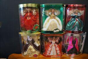 6 Happy Holiday Barbie Dolls 1993 - 1998 NRFB