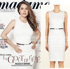 $1,350 DRESS WHITE VISCOSE JERSEY WITH METAL BUCKLE BELT sz M / Medium