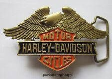Harley Davidson Bar 'n' Shield / Eagle Solid Brass Baron H-517 Belt Buckle