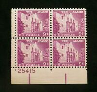 US Stamps Plate Blocks #1043 ~1956 Liberty Series THE ALAMO 9c MNH