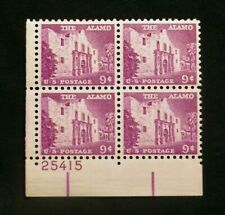 US Stamps Plate Blocks #1043 ~1956 Liberty Series THE ALAMO 9c MNH