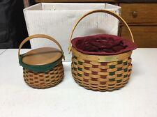 2 Longaberger 2003 Christmas Collection Baskets 7 Piece Set Liner Protector Lid