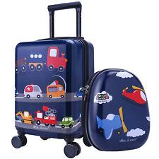 "16"" Carry On Spinner Luggage Backpack Set Kids Suitcase School Bag Wheel Trolley"