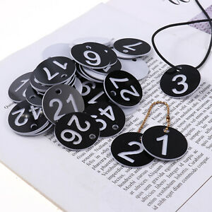 50Pcs Number Tags 1.36 Inch ID Number Tags Reusable Plastic HQ for Daily Use