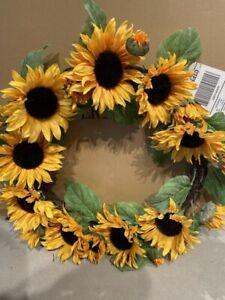 "New Pottery Barn Faux Sunflower Wreath 25"" NIB"