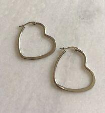 316L Surgical Stainless Steel Love Heart Creole Hoop Earrings Hoops 35mm