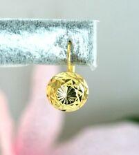 22K THAI BAHT DP YELLOW GOLD ~ OLD THAI DIAMOND CUT BEAD WIRE LOCK HOOP EARRINGS