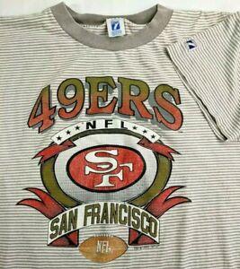 Vintage 1993 San Francisco 49ers Striped T Shirt, Logo 7 NFL, Mens Medium