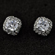 LOVELY 18K WHITE GOLD PLATED GENUINE CLEAR CUBIC ZIRCONIA STUD  EARRINGS
