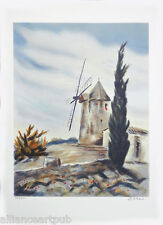 """THE WINDMILL"" Lithograph s/n by Paris Silver Medal Award Artist Victor Zarou"