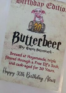Personalised Harry Potter BIRTHDAY Wine Bottle Label any name, age, Butterbeer