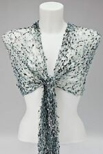 SILVER GREY NET SCARF / SHAWL / WRAP cobweb mesh wedding fair trade Viscose NEW