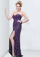 NWT PRIMAVERA COUTURE 9813 STRAPLES SEQUINED PURPLE-BLACK GOWN ALL SIZES $399