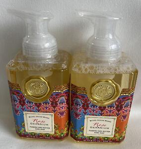 2 Michel Design Works Rose Geranium Foaming Shea Butter Hand Soaps 17.8 oz
