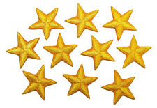 """Yellow star patches - pack of 10 - embroidered, iron-on, 1"""" (25mm) hand finished"""