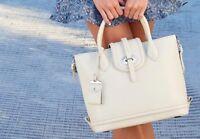 Dooney & Bourke Florentine Toscana Side Zip Leather Satchel/Shoulder Bag in Bone